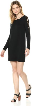 Kensie Women's French Terry Cross Hatch Sleeve Dress