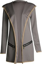Fashion Box Womens Long Sleeves Elbow Hem Trim Hooded Cardigan Jacket
