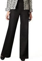 Neiman Marcus Contoured-Waist Wide-Leg Pants, Black