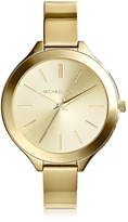 Michael Kors Mid-Size Golden Stainless Steel Slim Runway Three-Hand Watch