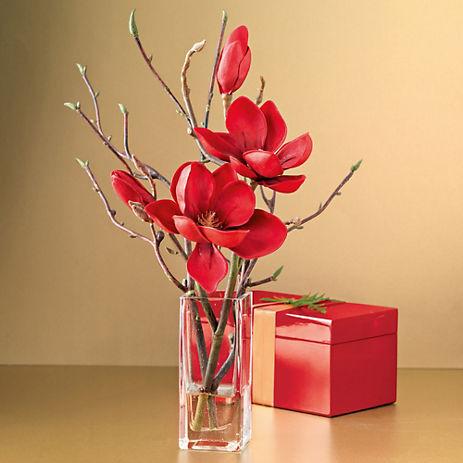 Gump's Red Magnolia Branch In Vase