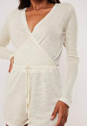 Missguided Ivory Soft Knit Wrap Front Long Sleeve Loungewear Playsuit