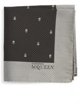 Alexander McQueen Men's Skull Dot Silk Pocket Square