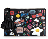 Anya Hindmarch Georgiana All Over Wink Stickers Clutch in Black Circus Leather