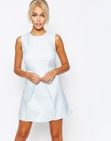 Fashion Union Textured A Line Shift Dress With Pleat Skirt
