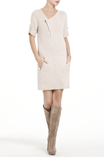BCBGMAXAZRIA Knit Lambswool Dress With Tubular Detailing
