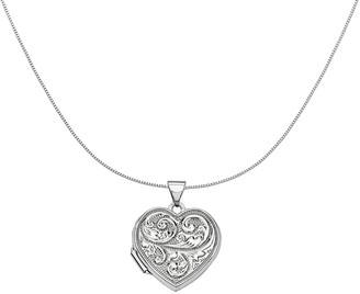"18"" Scroll ""Love You Always"" Heart Locket Necklace, 14K Gold"