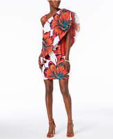 MSK Floral-Print One-Shoulder Dress