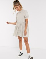 Asos Design DESIGN super soft balloon sleeve mini smock dress in oatmeal