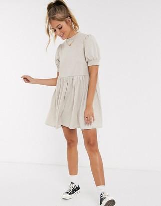 ASOS DESIGN super soft balloon sleeve mini smock dress in oatmeal