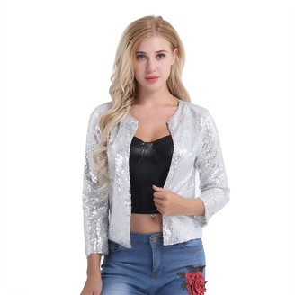 CHICTRY Women's Sequins Long Sleeve Sparkle Party Bomber Jacket Zipper Front Top Silver XX-Large
