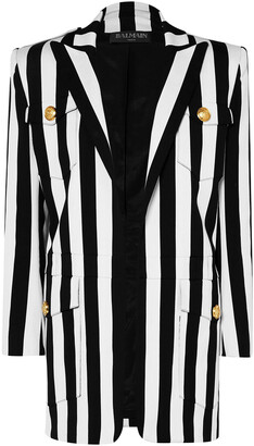 Balmain Button-detailed Striped Cotton-blend Blazer