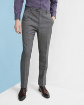 Ted Baker Prince Of Wales Checked Wool Trousers Grey