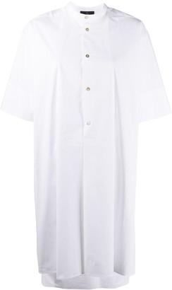 Fay Asymmetric Hem Round Neck Shirt Dress