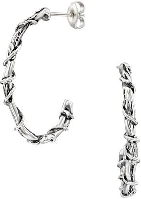 Hagit Sterling Silver Vine Wrapped Hoop Earrings