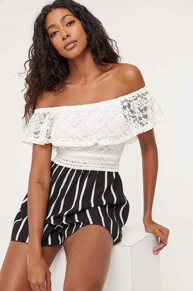 Ardene Off Shoulder Lace and Striped Romper