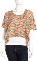 Romeo & Juliet Couture Crochet Short-Sleeve Sweater, Beige/Multicolor