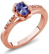 Gem Stone King 0.47 Ct Oval Blue Tanzanite White Topaz 14K Rose Gold Ring
