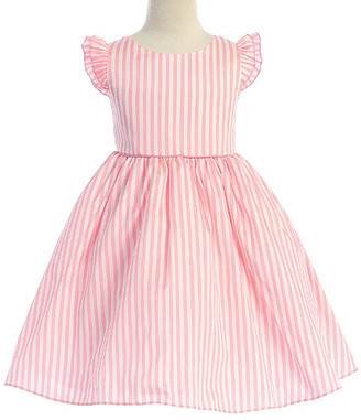 Ellie Kids Girls' Casual Dresses Pink - Pink & White Stripe Angel-Sleeve Dress - Toddler & Girls