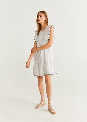MANGO Short ruffled dress off white - 2 - Women