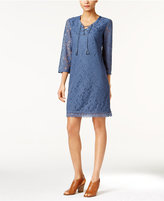 Style&Co. Style & Co. Petite Lace Lace-Up Sheath Dress, Only at Macy's