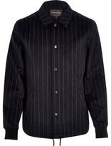 River Island Navy Pinstripe Wool-blend Coach Jacket