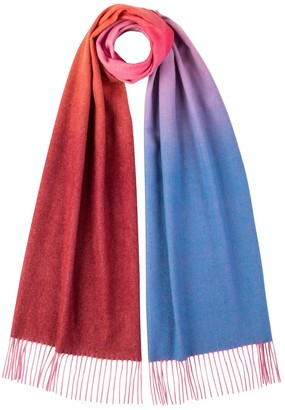 Johnstons of Elgin Oversized Ombre Cashmere Scarf Bright Multi
