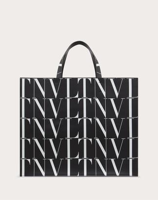 Valentino Garavani Uomo Vltn Times Leather Tote Bag Man Black/white 100% Pelle Bovina - Bos Taurus OneSize