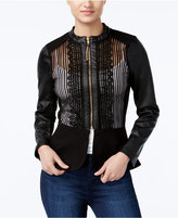 XOXO Juniors' Faux-Leather Peplum Moto Jacket