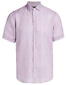 Emporio Armani Men's Micro-Pattern Linen Short-Sleeve Shirt