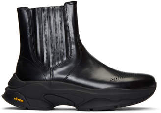 Wooyoungmi Black Rubber Sole Chelsea Boots