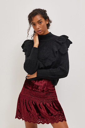 Cherie Eyelet Velvet Mini Skirt By Seen Worn Kept in Red Size 0