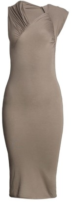 Rick Owens Lilies Asymmetric Gather Stretch Bodycon Dress