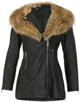 Izabel London **Izabel London Black Faux Fur Collar Coat