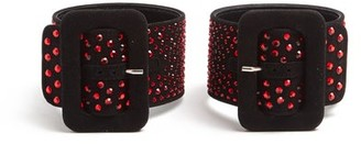 ATTICO The Crystal Embellished Suede Ankle Straps - Womens - Black Red