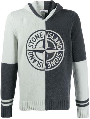 Stone Island Two-Tone Logo Hoodie