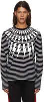 Neil Barrett Black and White Striped Long Sleeve Fairisle T-Shirt