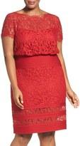 Tadashi Shoji Plus Size Women's Embroidered Lace Blouson Dress