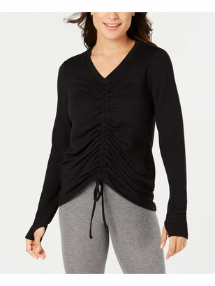 Ideology Womens Black Ruched Solid Long Sleeve V Neck Top Size: S