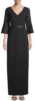 Calvin Klein Lace-Trimmed Bell-Sleeve Dress