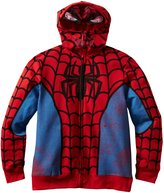 Spiderman The Amazing Marvel Comics Costume Mask Zip Up Youth Hoodie