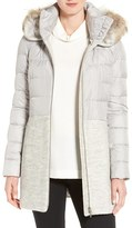Soia & Kyo Women's Mixed Media Quilted Coat With Genuine Coyote Fur Trim Hood