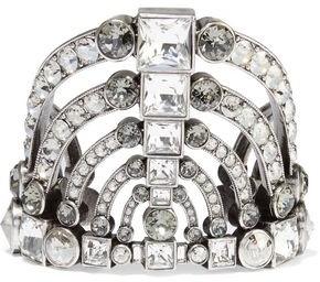 Lanvin Burnished Silver-tone Crystal Cuff