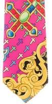 Gianni Versace Baroque Cross Print Silk Tie