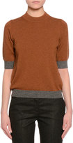 Piazza Sempione Half-Sleeve Jewel-Neck Two-Tone Sweater, Cognac/Gray