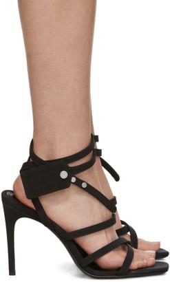 Off-White Black Satin Zip Tie Sandals