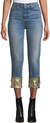 Black Orchid Taylor High-Rise Straight-Leg Jeans w/ Foiled Hem