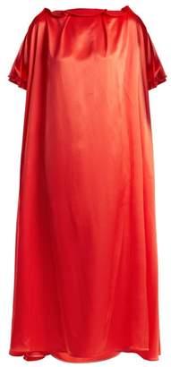 Roksanda Emore Ruffle-trimmed Satin Dress - Womens - Red