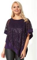M&Co Roman Originals sequin embellished overlay top