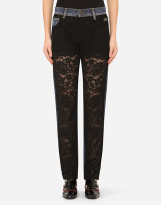 Dolce & Gabbana Denim And Lace Boyfriend Jeans